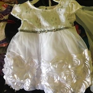 Little Lass white and silver flower dress